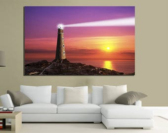 modern paintings canvas 200x125 xxl Lighthouse sunset scenery sea relaxation holidays
