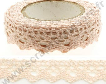 Fabric adhesive tape - edge light pink lace - 17mm x 2 m