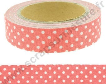 Fabric adhesive fabric tape - coral with white dots - 15mm x 4 m