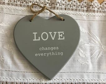 """Grey wood 5-heart """"Love changes everything"""""""