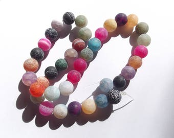 Multicolor agate frosted 10 mm LAYA 306 34 smooth round beads