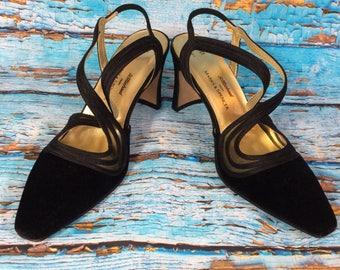 St michael vintage M&S velvet court heel cross strap shoes size Eur 38 Uk 5