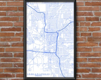 Indianapolis, Indiana Map Art (Indianapolis Colts)
