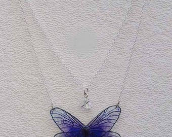 Double fairy wings necklace chain purple deep and star charm bead