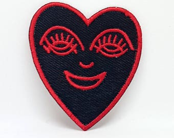 1239# Happy Heart Red on black Iron/Sew on Embroidered Patch