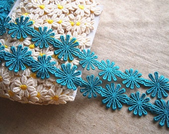 beautiful blue green color 2.7 cm guipure lace braid