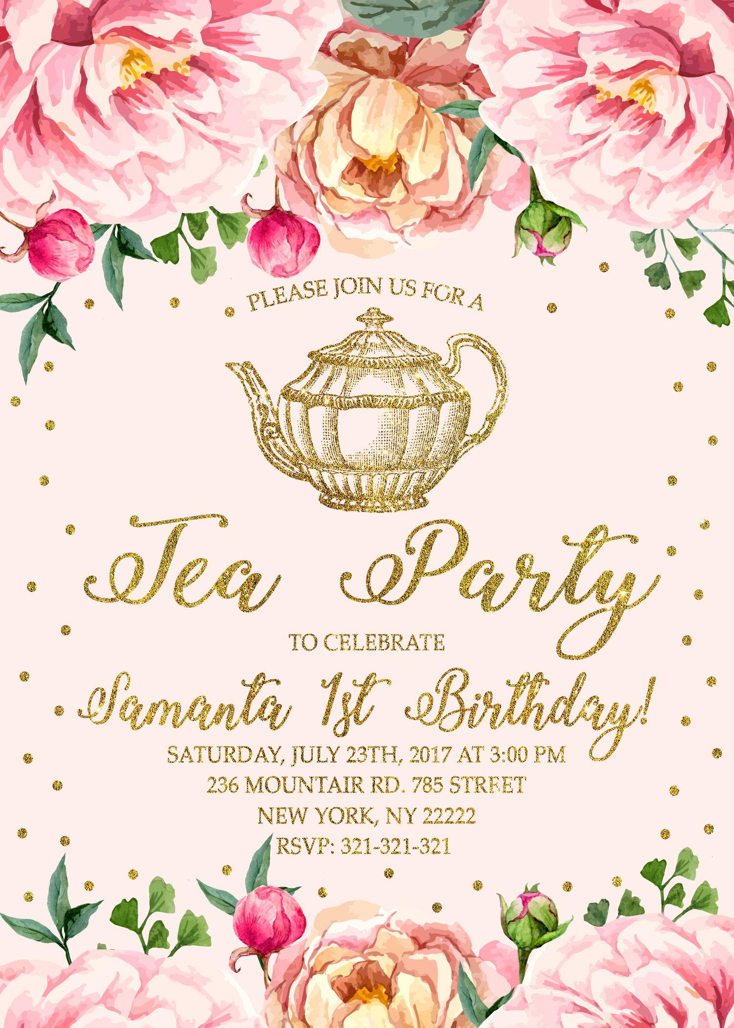 Tea Party 1st Birthday Invitation, Tea Party Invitation, First ...