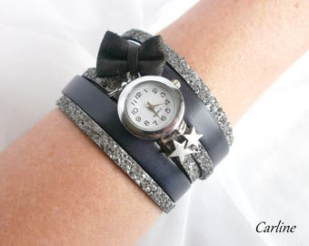 Shows woman leather cuff original - Olympus - grey leather and glitter gray silver rhinestone