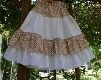 petticoat white cotton and polka dots pattern Fanfan