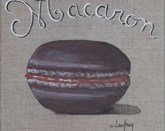 "Painting on linen, acrylic painting ""Caramel chocolate macaroon"" 20 x 20 cm"