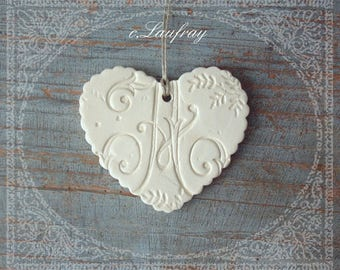 White scalloped ceramic heart, letter 'A' and Black Lace Print