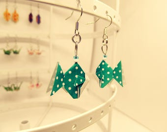 Dotted origami fish earrings