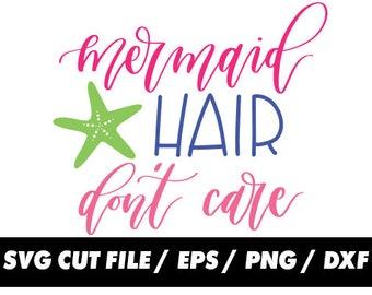 Mermaid hair dont care svg, Mermaid bad hair day clipart svg eps png dxf - Fabric Cut Print Mug Shirt Decal Active
