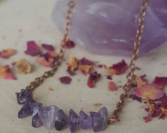 Amethyst Bar Necklace/ Amethyst Crystal Necklace/ Amethyst chips/ February birthstone/ Healing Stone necklace/Gifts for Her