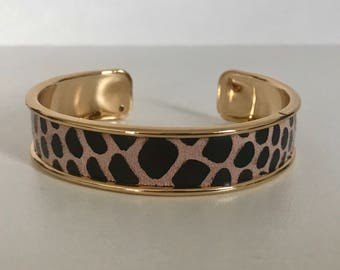 Pink faux leather pink python nude/Brown on gold plated Bangle Cuff Bracelet
