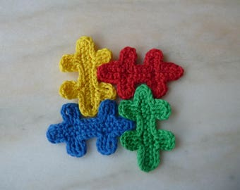 Puzzle pieces - handmade cotton crochet application