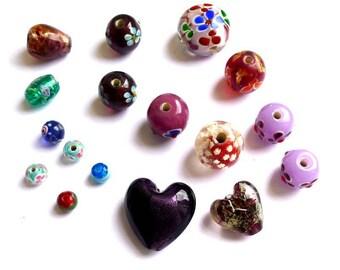 Lot mix, Italian style glass beads glass beads