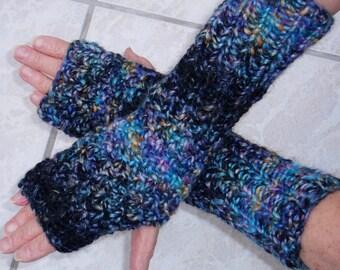 Fingerless gloves, fingerless gloves, black and blue hand knitted. Creation: unique