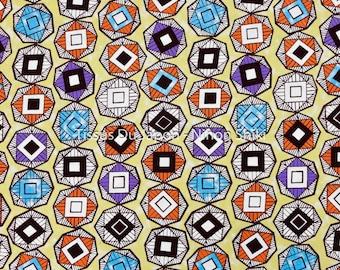 African Style fabric - Pattern fabric African - fabric cotton Pale yellow - yellow geometric fabric - 50x110cm