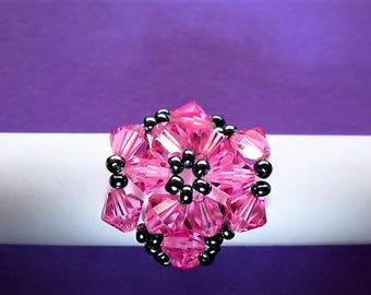 ring cabochon pink star/flower and hemathite in swarovski crystal beads