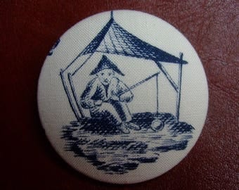 Asian cotton fabric button on a boat * 5 cm *.