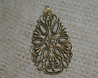 2 connectors large Teardrop filigree bronze 68mm