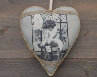 sold. inner heart House a hanging fabric heart