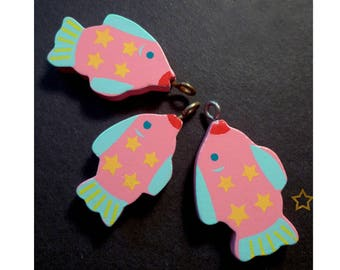 Wooden fish charms