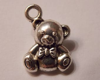 Cute Teddy bear silver charm