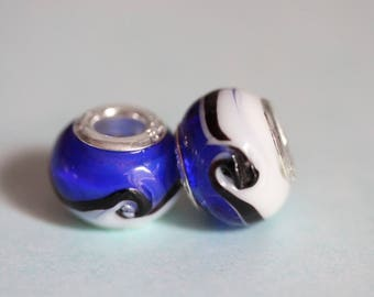 ❥ Perle Charm 925 sterling silver black blue white glass