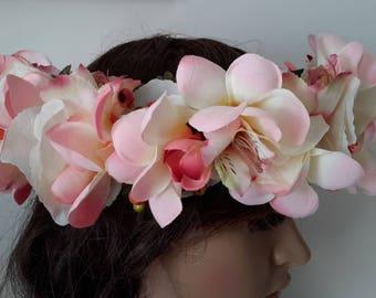 couronne  polynésienne serre-tête pour mariée frangipaniers roses