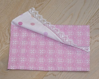 "Pocket wipes, diapers, makeup, jewelry, lace ""moucharabieh"" clutch lined pink"
