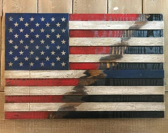 Rustic American Ripping to the Thin Blue Line Wooden Flag
