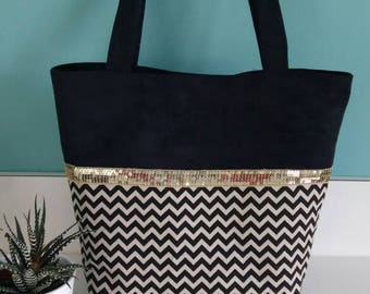 Black and beige chevron Tote