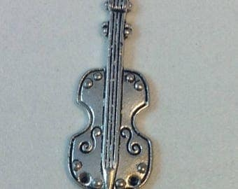 25 mm silver plated violin charm pendant