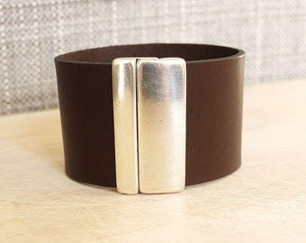 Leather Bracelet handmade women 40mm Brown leather cuff dark - silver magnet clasp