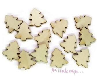 Set of 30 mini Christmas trees wood scrapbooking (ref.410) *.