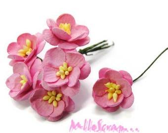 Lot de 5 fleurs papier rose clair embellissement scrapbooking carterie(réf.810)*