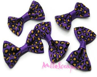 Set of 5 bows leopard purple embellishment scrapbooking card making *.