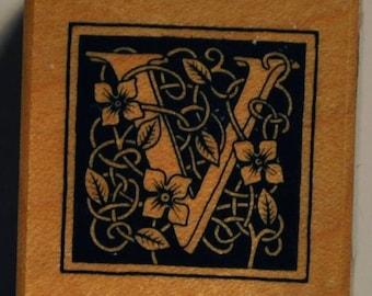 Wood stamp - letter V