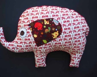 Pillow embroidered ELEPHANT hand 46x36cm, white background with little red elephants