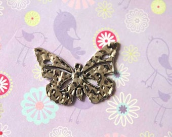 Charm, large hammered silver plated butterfly, 55mmx35mm