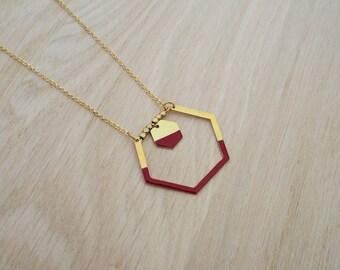Burgundy Red Hexagon necklace - enamel jewelry