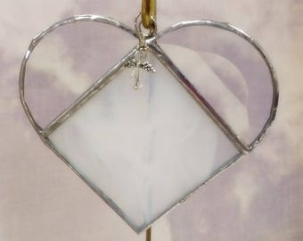 Stained Glass, JUNE Birthstone, Birthstone Heart, Pearl, White, Stained Glass Suncatcher, Handmade in USA, Gift for Her