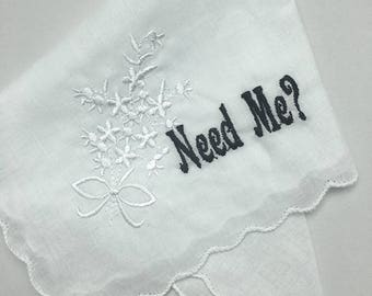 Need Me? White Floral Embroidered Handkerchief With Scallop Edge - Dainty Hankie