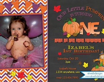 Pumpkin Patch Birthday Invitation - Our Little Pumpkin Halloween Birthday Invitation