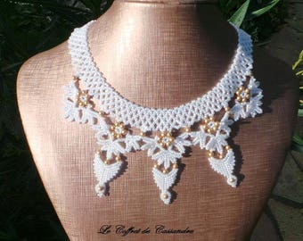 Queen of Sheba White Pearl Necklace and bright gold, lace pearls