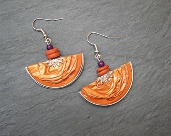 Earrings capsules of coffee - bright orange half-moon