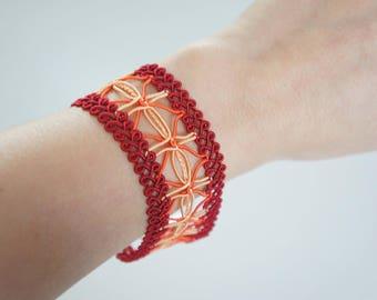 Orange red stripe - Ruby bracelet