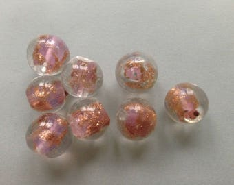12.113 / lot 5 beads pink round lampwork glass gold powder handcrafted murano clear 12mm